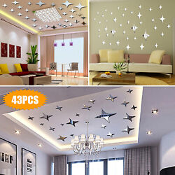 3D Mirror Star Wall Sticker Removable Decal DIY Stickers Home Art Modern Decor $9.98