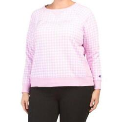 CHAMPION Plus Campus French Terry Sweatshirt Womens Size 1X Pink Gingham NWT $39.99