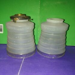 Pair of Vintage Frosted Glass Lamp Shades Pendant Shades $22.50