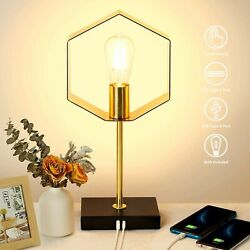 Modern Table Lamp With USB Industrial Bedroom Desk Reading Touch Dimmable Gold $47.50