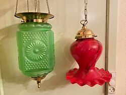 RARE 2 Antique Red and Green Electric Hanging Lamps Ceiling Fixtures $649.00