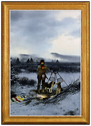 Michael B Coleman Oil Painting on Board Native American Western Landscape Signed $11895.00