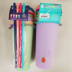 Summer 2021 TAL Color Changing REUSABLE Tumblers amp; Straws 4 Pack Cold Cups 24oz $15.00