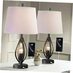 Modern Farmhouse Table Lamp Sets of 2 with 2 USB Ports Pulg in Industrial Grey $186.24