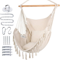 Wbhome Hammock Chair Swing With Hardware Kit Hanging Macrame Chair Cotton Canva $71.99