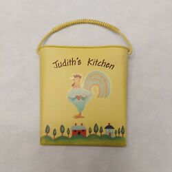 Kitchen Magnet Vintage judith#x27;s kitchen pail bucket rooster with heart yellow $7.91