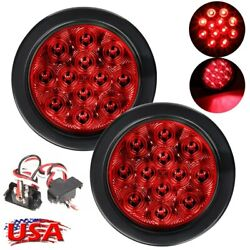 4quot; 12LED Red Side Mark Lights Round Stop Turn Tail Lamp For Truck Trailer 2X $10.89
