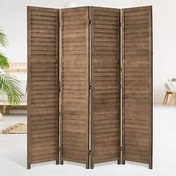 5.6 FT Vintage Room Divider Wood Freestanding Privacy Screen Partitions 4 Panels $94.99
