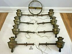 Vintage Brass Chandelier Parts 8 Straight Arms and Hub For Parts Repair $99.99