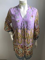 Fig amp; Flower Anthropologie Size Large NWT Lavender Floral Long Boho Tunic Top $22.99