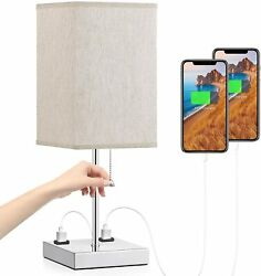Modern Table Lamp With USB Fixture Night Stand Desk Reading Bedroom Bedside Grey $41.50