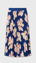 A New Day XS Skirt Blue Floral Print Pleated Maxi Women $16.14