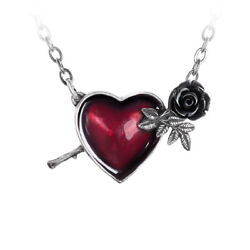 Alchemy England Gothic Red Heart amp; Black Rose Pendant SIlver Pewter Necklace
