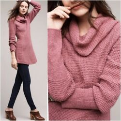 ANTHROPOLOGIE ANGEL OF THE NORTH womens XS Rosie cowl waffle knit tunic sweater $35.99