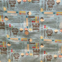 """David Textiles Kitchen Theme 1 yard by 44"""" Fabric Main Color Blue $6.99"""