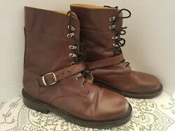 Giraudon Womens Boots Size 8 Combat Buckle Leather Lace Up Moto Brown $34.00