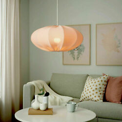 Ikea REGNSKUR Pendant Lamp Textile Shade Oval Pink 20quot; NEW $38.00
