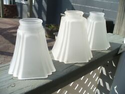 Set of 3 FROSTED ART DECO Satin Glass Lamp Light Shades $28.95
