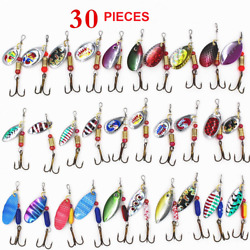 30 PCS Fishing Lures Metal Spinner Baits Bass Tackle Crankbait Trout Spoon Trout $12.93