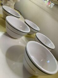 FIve VINTAGE BUFFALO CHINA RESTAURANT WARE GREEN BAND SOUP CUP BOWLS $33.00