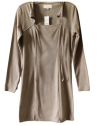 Kendall amp; Kylie Dress Faux Suede Taupe Long Sleeve Size Small NWT