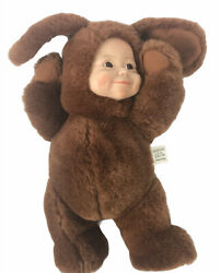 Center Stage 1990 Baby Pets Brown Plush Bunny Rabbit Vinyl Baby Doll Face 10#x27;#x27; $15.43