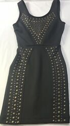 Fitted Mini Little Black Dress XS Xsmall Sleeveless Copper Accents Metallic Bead $14.73