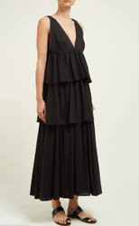 RHODE RESORT Women Black Leela Dress Maxi Cotton Summer V neck New Size L $268.00