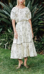 RHODE RESORT Women#x27;s Frida Dress Off White Printed Summer Cotton Casual New XS $238.00