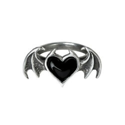 Alchemy Gothic Black Heart Devil Horns Bat Wings Silver Pewter Ring Made in UK