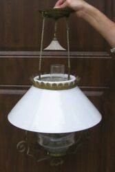 Antique Hanging Glass Oil Lamp with Shade Chimney and Smoke Bell Stock rj $189.50