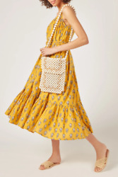 RHODE RESORT Lea Floral Dress Midi Long Yellow Belted Cotton Summer NEW Size L $228.00