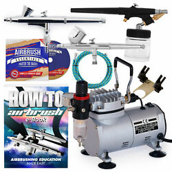 New Dual Action Airbrush Kit with 3 Guns $38.99