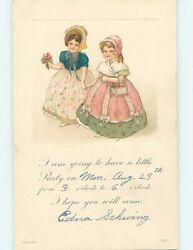 Pre Linen fashion GIRLS IN COLORFUL DRESSES HOLDING HANDS HL5490 C $2.49