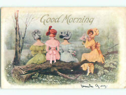 Pre Linen WOMEN AND COLORFUL DRESSES SITTING ON LOG k7845 C $2.49