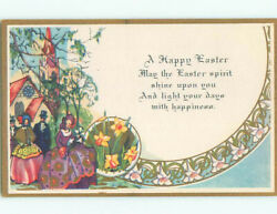 Unused Pre Linen easter WOMEN IN COLORFUL DRESSES COME HOME FROM CHURCH k2078@ C $2.49