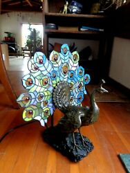 Vintage Stained Glass Lamp Peacock $78.00