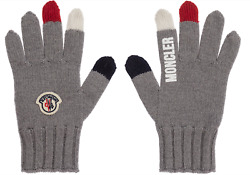 MONCLER KIDS UNISEX GREY KNITTED WOOL GLOVES LOGO PATCH SIZE M EUC $220 $89.00
