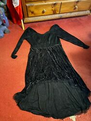 Hot topic gothic dress skull velvet hi low corset dress damaged 3x