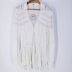 Free People Womens Set to Stun Tunic Top in White New Lace Boho Size Large $65.00