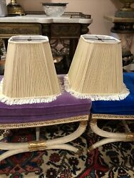 Vintage beige With fringe lamp shades 12quot; Long 8 1 4quot; Top 13quot; Bottom Opening $44.00