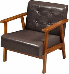 Living Room Mid Century Retro Modern Accent Chair Faux Leather Armchair Brown US $85.99