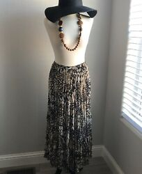 CHICO#x27;S Size 2 Brown Animal Print Long Boho Maxi Skirt Polyester Pleated Lined $16.00