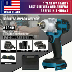 Brushless Cordless Impact Wrench With 2 Battery Charger 1 2quot; Replace Makita USA $80.99