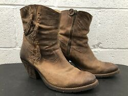 Justin Women's 11 B Ankle boots Weathered Side Zipper Stylish High Heel MSL101 $67.96