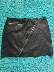 Kendall amp; Kylie Black Faux Leather Mini Skirt Size L Zippers