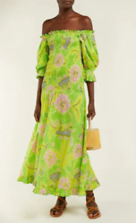 RHODE RESORT Women#x27;s Green Eva Dress off the shoulder Smocked Cotton Summer XS $228.00