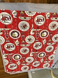 Vintage Kitchen Tablecloth Print 1940s Scenic Rooster Grapes Horse Man Red $22.00