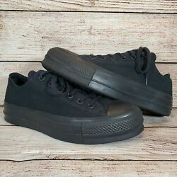 Converse All Star Women#x27;s Size 10 Blk Blk Canvas Low Top Double Thick Lift Sole $44.99