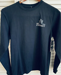 New NWT Men's Everest Mountain Hardware T Shirt Crew Black Long Sleeve Small S